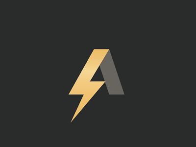 A Lightning Logo speed gold a icon logo lightning