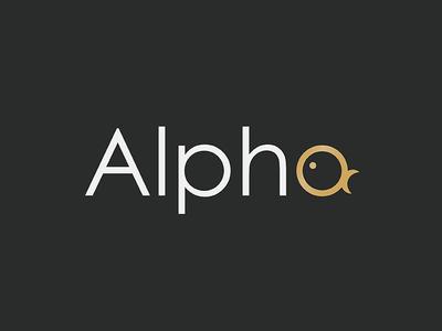 Alpha Fish logo animal icon logo gold goldfish fish alpha