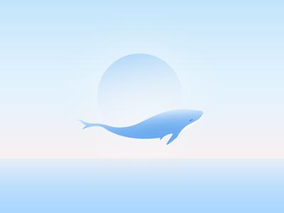 Dolphin Illustration peace sunrise blue see illustration dolphin