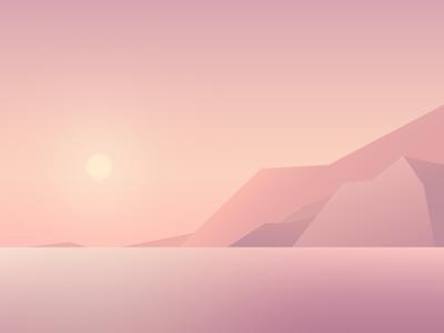 Dusk mountain peace illustration pink sunset dusk