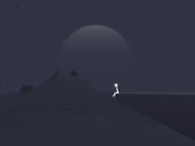 Lonely Night moon insomnia night starry illustration alone