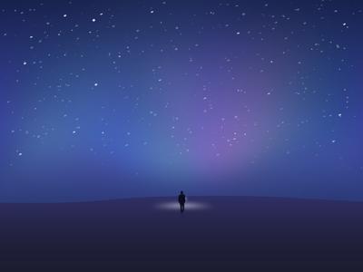 Starry Night illustration universe alone man galaxy star night starry