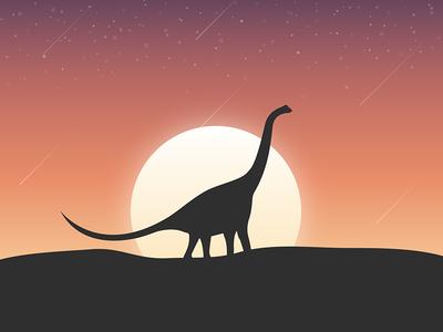 Dinosaur sunset dusk sun illustration dinosaur
