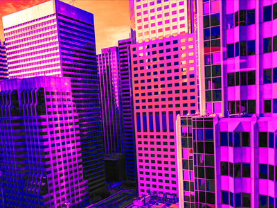 Scene: Angela ponders the implications graphic novel cyberpunk neon noir cityscape land of the free