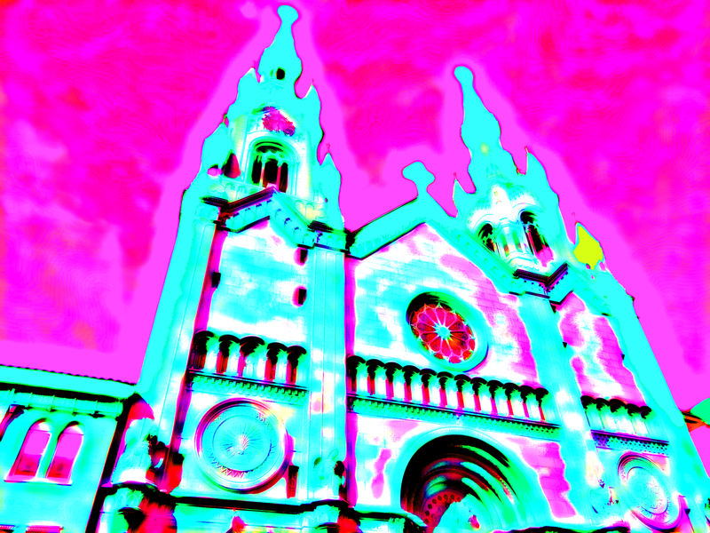 Cathedral sf neonnoir neonwave design land-of-the-free