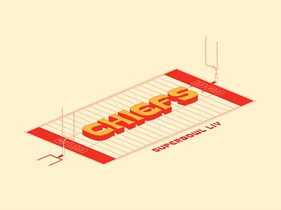 KC Chiefs Super Bowl LIV Illustration superbowl football kc chiefs numerals vector illustration typedesign typography illustration design
