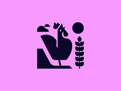 Day plant fill awake farm day sun shape rooster texture illustration design