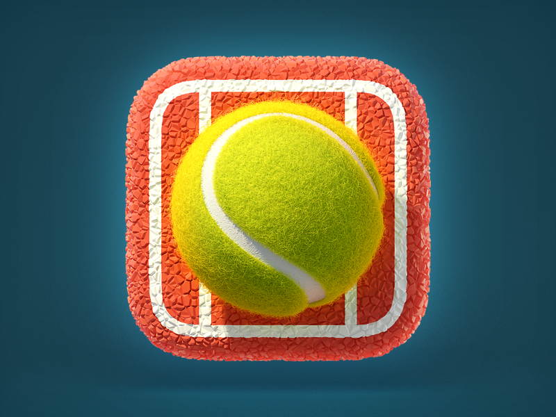 Tennis Ball Icon realistic skeuomorphism render ui 3d app icon ios tennis ball