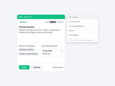 Context Menu alloy ui ux user experience design project alloy healthcare app emr ehr healthcare