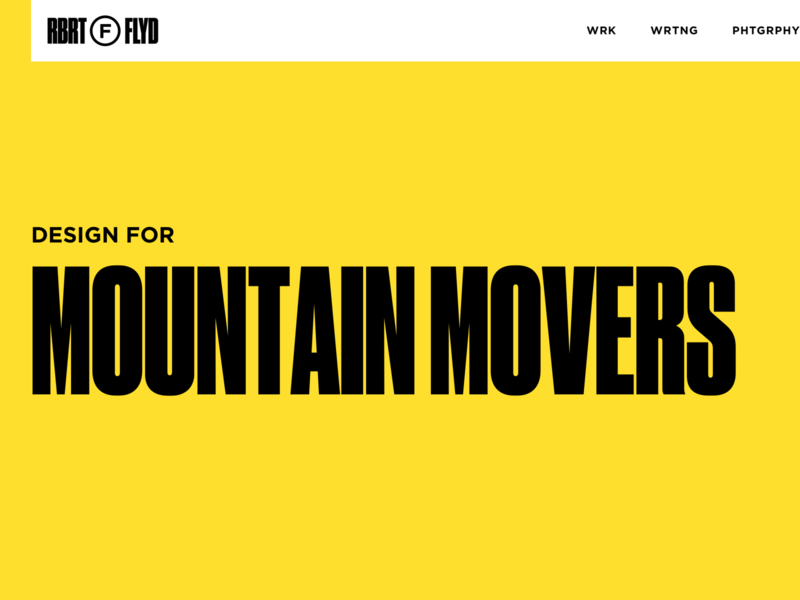 Portfolio Heading wip personal brand yellow typography portfolio personal website website