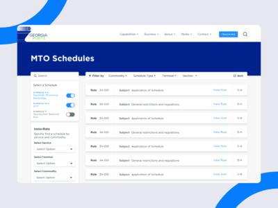 MTO Schedules Desktop responsive georgia ports tarriffs prices schedules rules sorting filter ui typography branding web design ux ui
