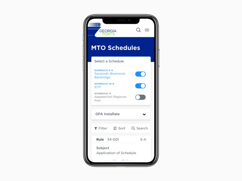 MTO Schedules –On the Go mobile tarriffs prices sort filter responsive design ux ui mobile ui mto schedules georgia ports