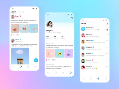 Dating App color girl boy friends social dating app icon ui design