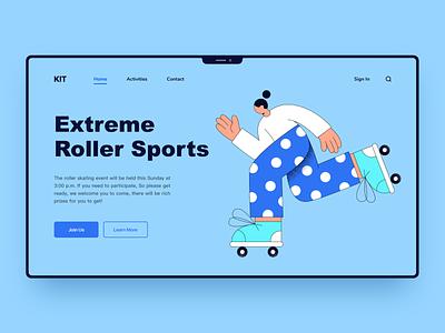 Roller sport roller boy run vector ui illustration design