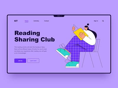 Reading reading girl ui illustration design