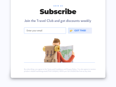 Subscribe screen for travel's