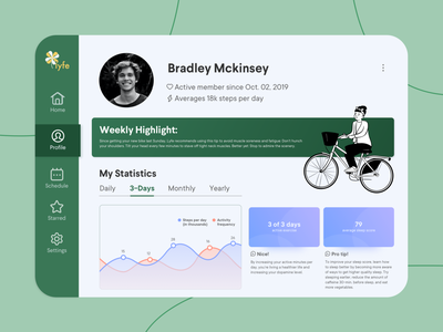 DAILY UI 006: User Profile for Health 💒 uxdesign ui design ui  ux charts analytics dailyui sketch ui web design product design health app dashboard ui
