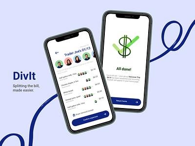 DivIt: Bill Splitting iOS Mobile App 💲 bill banking mobile app design ux mobile app ui sketch product design design