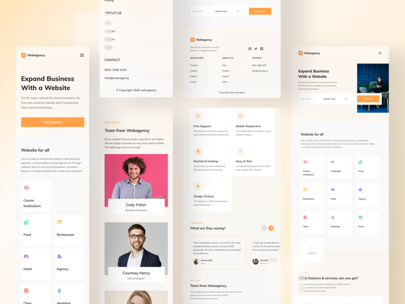 Webagency  - Agency Landing Page cta button hero section cards ui team profile team website teams company profile studio profile company website orange mobile responsive landing page agency design minimal question page landing app mobile