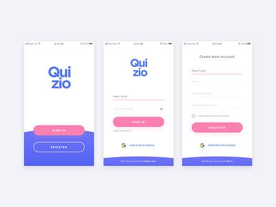 Quizio - Login and Registration Screen signin pink blue google quiz form register signup login mobile app ux