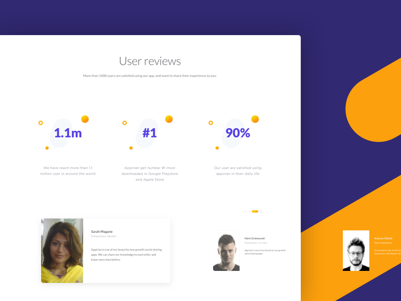 Appirian - User Reviews Section flat minimal page landing dailyui numbers graph stats card feedback poeple what testimonial review user