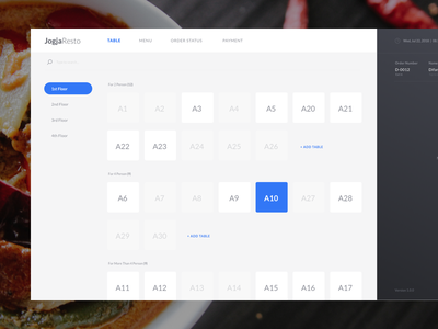 Resto POS App - Table Management minimal dine customer block map set table food course cashier transaction menu mobile ui tablet point of sale restaurant app pos resto