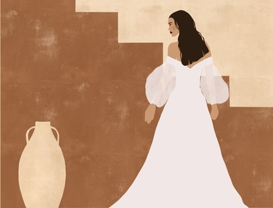 Beautiful bride in a wedding dress on an abstract background artist art design feminine procreate drawing girl illustration girl character drawing digital earth tones bride wedding dress procreate procreate art woman illustration woman illustration