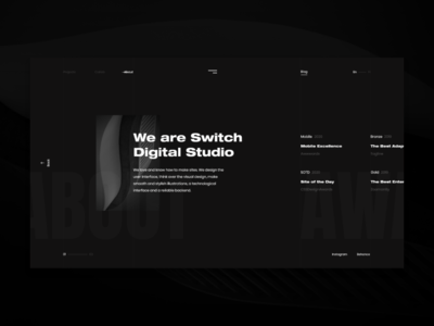 Switch Digital Studio - About Page studio about white photo page brand ux ui app online minimalism minimal web graphic digital desktop design dark clean black