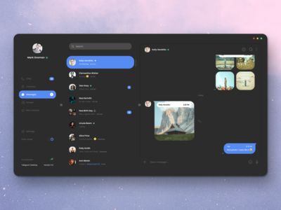 Telegram Desktop App - Dark Mode app design light blue flat site messanger message telegram clean page white dark black minimalism design graphic ux ui web app