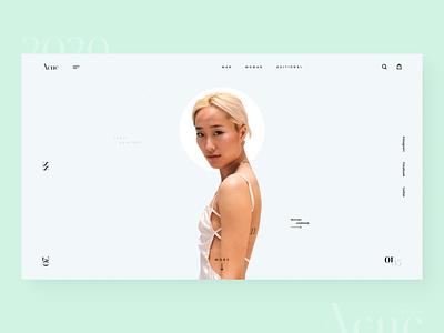 Acne Studios girl studio acne typographic dark white blue site page photo store shop clean online minimalism design graphic ux ui web