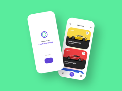 Car control app page catalog main ios flat app control car site dark clean white minimalism design web interface mobile graphic ux ui