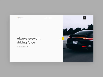 Porsche animation motion video shop store logo typographic porsche car online site design dark white clean minimalism graphic ux ui web