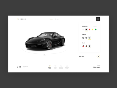 Porsche Configurator menu models car ar store shop porsche cards configurator online dark clean site white design minimalism graphic ux ui web