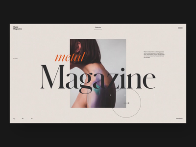 Metal Magazine - Home & Articles typography photo page home gallery article dark clean white minimalism animation design branding motion graphic web ux ui