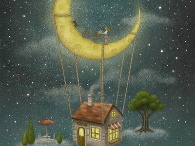 Travel With The Moon illustration starry drawing star starry sky home house imginative moon illustration design fatansy magical moonlight artwork painting illustration art crescent moon