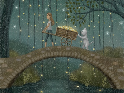 Across The Bridge children books fairytale cat bookcover storybook night painting star starry starry sky illustration art illustration artwork