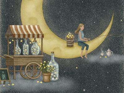 Midnight Stall dreamy moonlight childrenillustration fairytale vintage crescent moon illustration star starry sky starry illustration art artwork