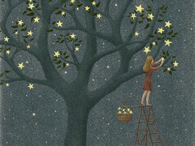 Star Tree book art childrenillustration fairytale storybook midnight night girl illustration design painting bookcover stars moonlight starry starry sky illustration art artwork