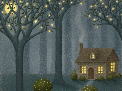 Midnight Delivery storybook home forest tree midnight night children book illustration homey house artworks cat bookcover fairytale starry starry sky illustration art illustration artwork