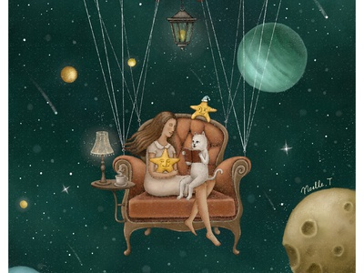 Story Time storybook star starry sky painting bookillustration bookcover ngiht reading cat armchair planets outerspace galaxy universe starry illustration illustration art artwork