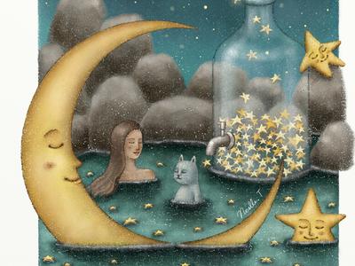 Bath Under The Starry Sky night storybook childrenillustration paintings cat children book artwork bookcover fairytale illustration illustration art painting star starry crescent moon moonlight onsen bath