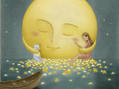 Embrace peaceful peace picturebook children art children book illustration magical dreamy lake sea starry star painting fairytale bookcover moonlight illustration art moon full moon illustration artwork