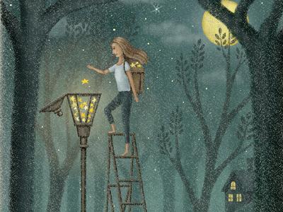 Light It Up night midnight light star children book forest streetlight moon moonlight cat illustration painting storybook starry sky fairytale starry artwork illustration art