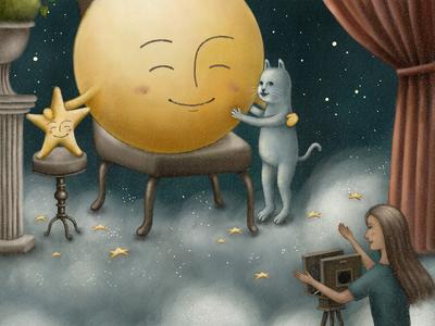 Say Cheese! storybook artwork cat fullmoon moonlight studio star moon night cloud photographer vintage painting starry illustration illustration art