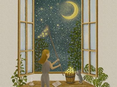 Catch The Stars midnight star moon night cat painting starry moonlight artwork illustration illustration art