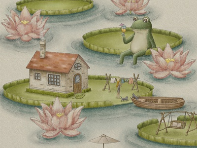 A Day At The Lotus Pond drawing design painting fairytale artwork illustration illustration art