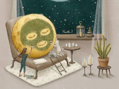'Be Back Soon' cat storybook design midnight painting star moonlight night starry humour artwork illustration illustration art