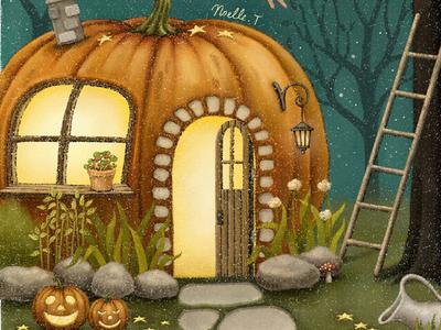 Halloween Fairy House drawing fairy house jack o lantern pumpkin halloween halloween design illustration midnight painting night storybook design starry fairytale star artwork illustration art