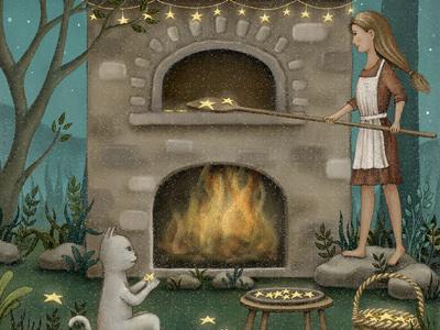 Star Baking midnight star night cat storybook bookcover design painting artwork fairytale starry illustration illustration art