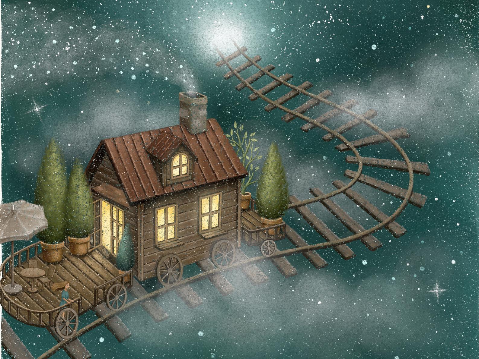 Drifting Into The Light storybook star midnight dream dreamy light fantasy magical train artwork moonlight night painting starry illustration illustration art